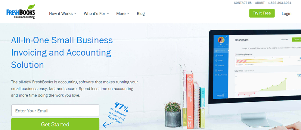 A screenshot of the FreshBooks accounting software, a QuickBooks alternative.