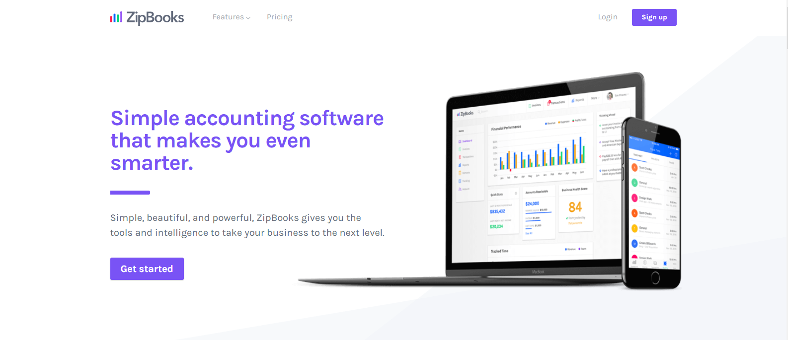A screenshot of ZipBooks accounting software. If you need a streamlined approach to bookkeeping, this could be the program for you.