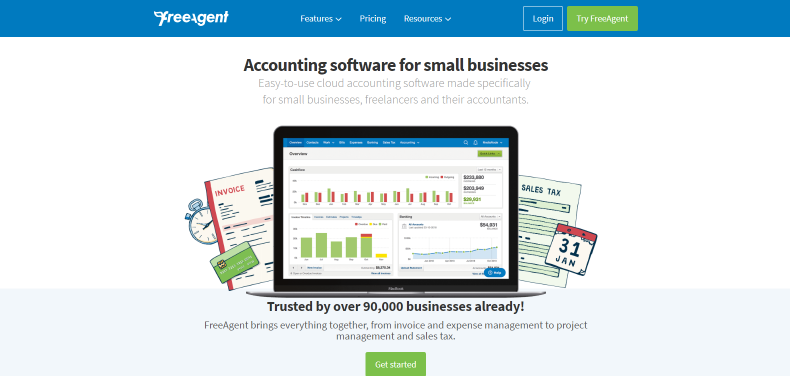 A screenshot of the FreeAgent accounting software.