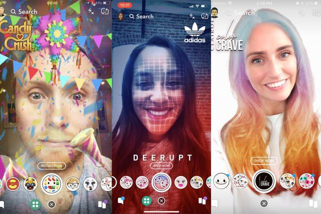 """Snapchat shows three examples of """"Shoppable AR"""" lenses designed to inspire commerce across the platform."""