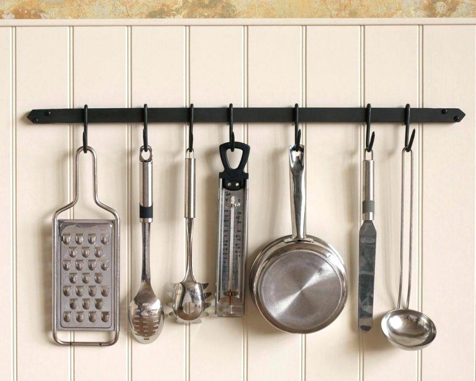 A hanging storage solution that shows how to save kitchen counter space