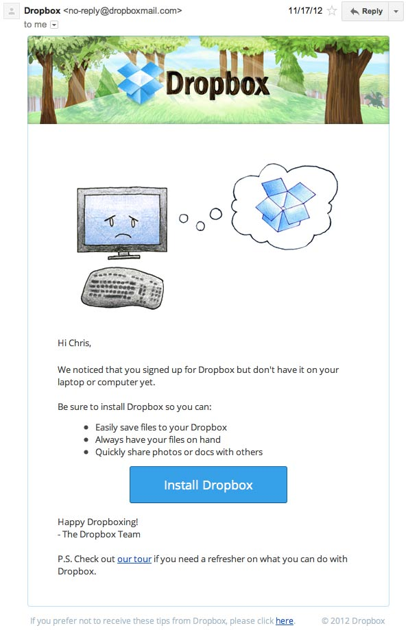Dropbox activation email reminder