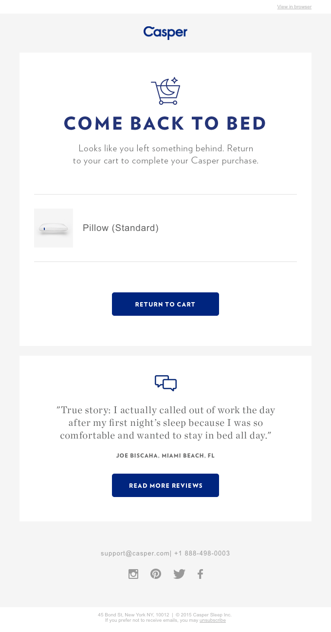 Casper Shopping Email Reminder
