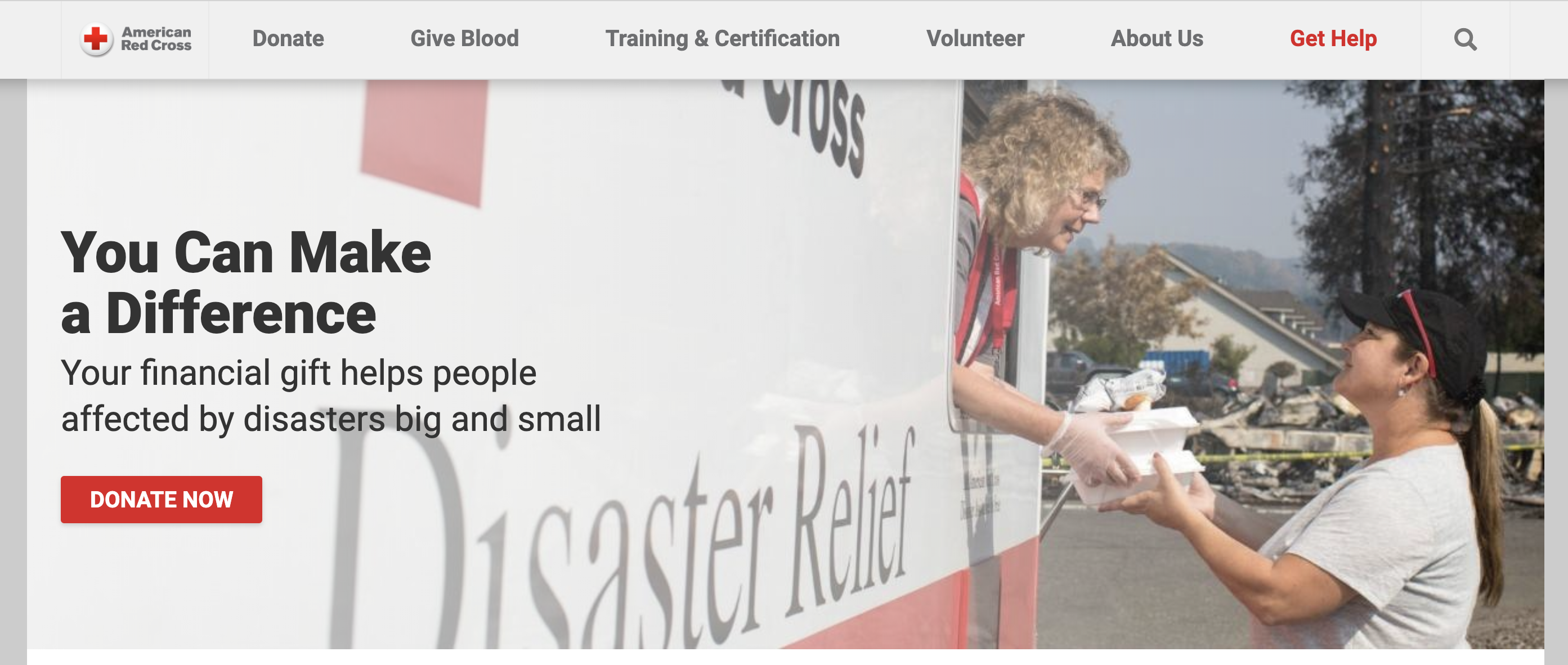 American Red Cross call to action example