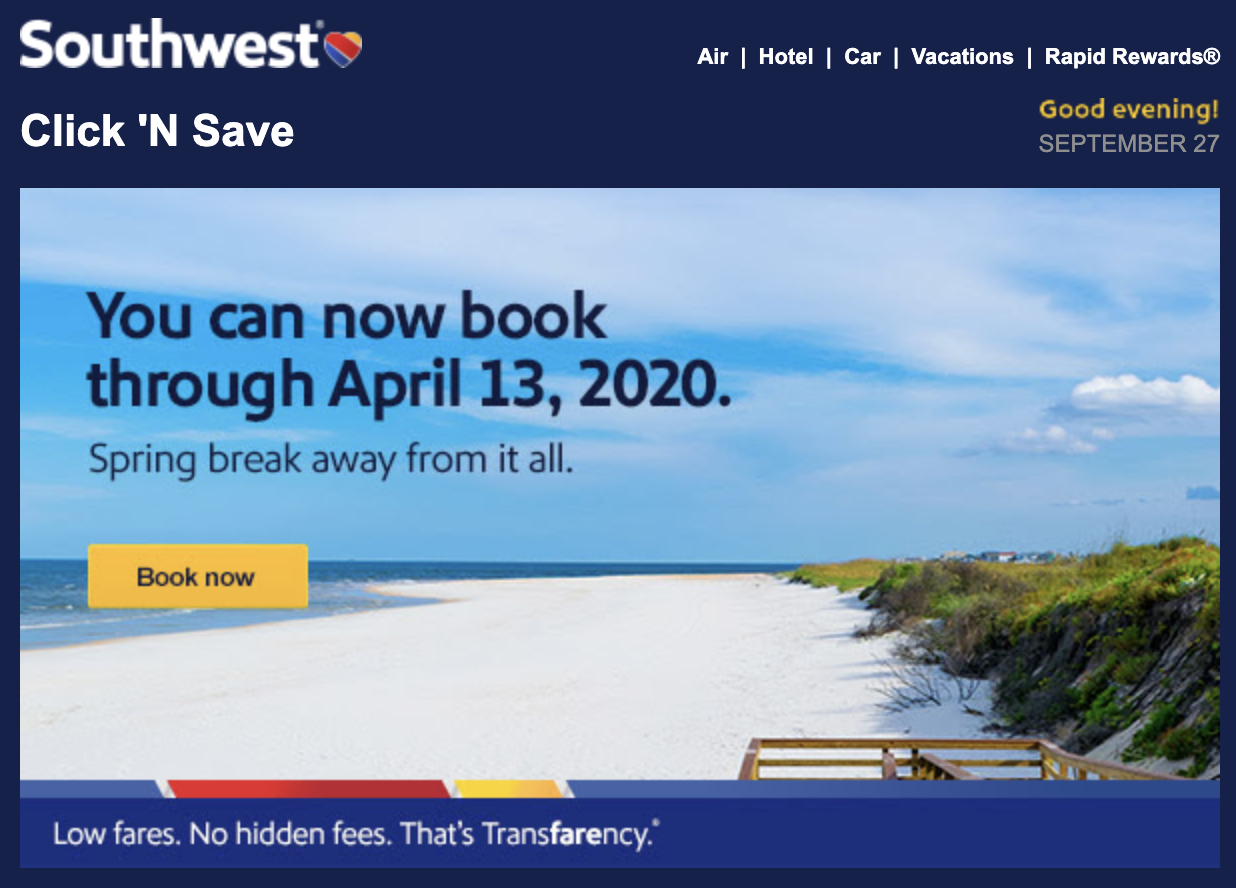 southwest call to action example