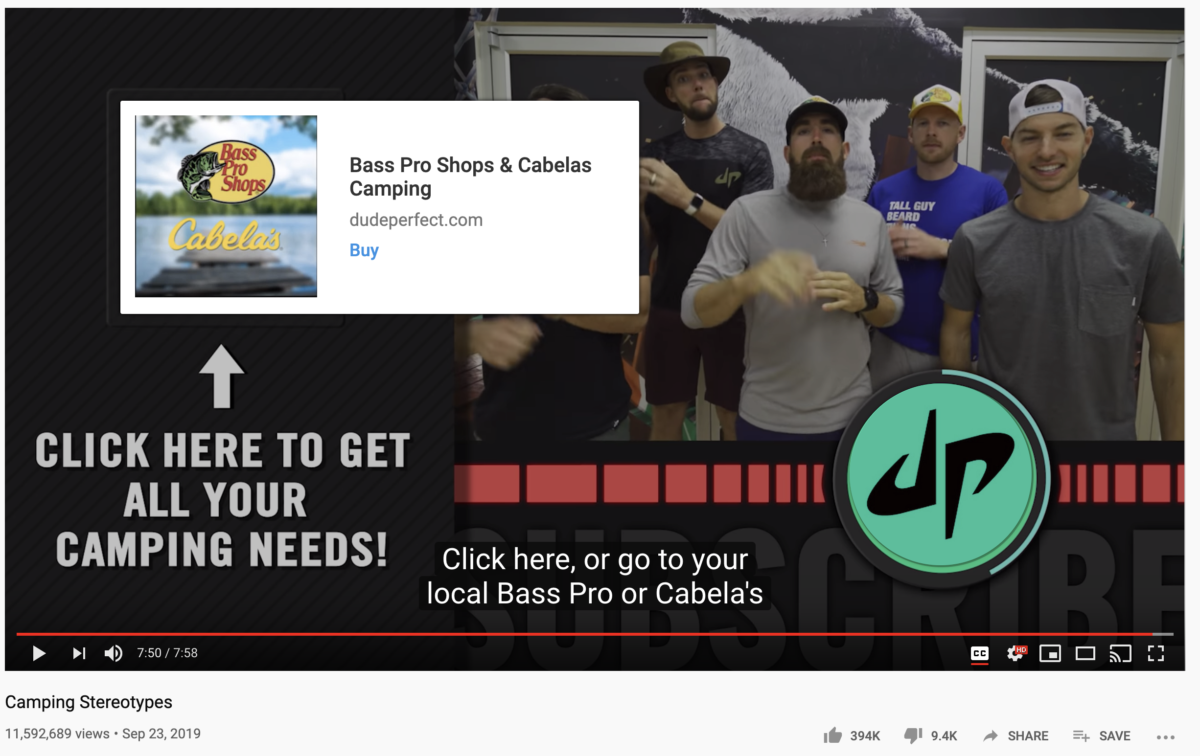 Dude Perfect call to action example