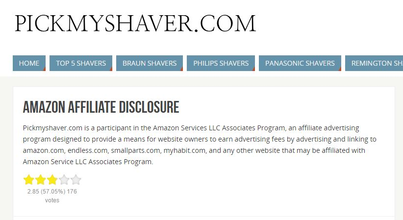 Example of disclosing an affiliate relationship on your site