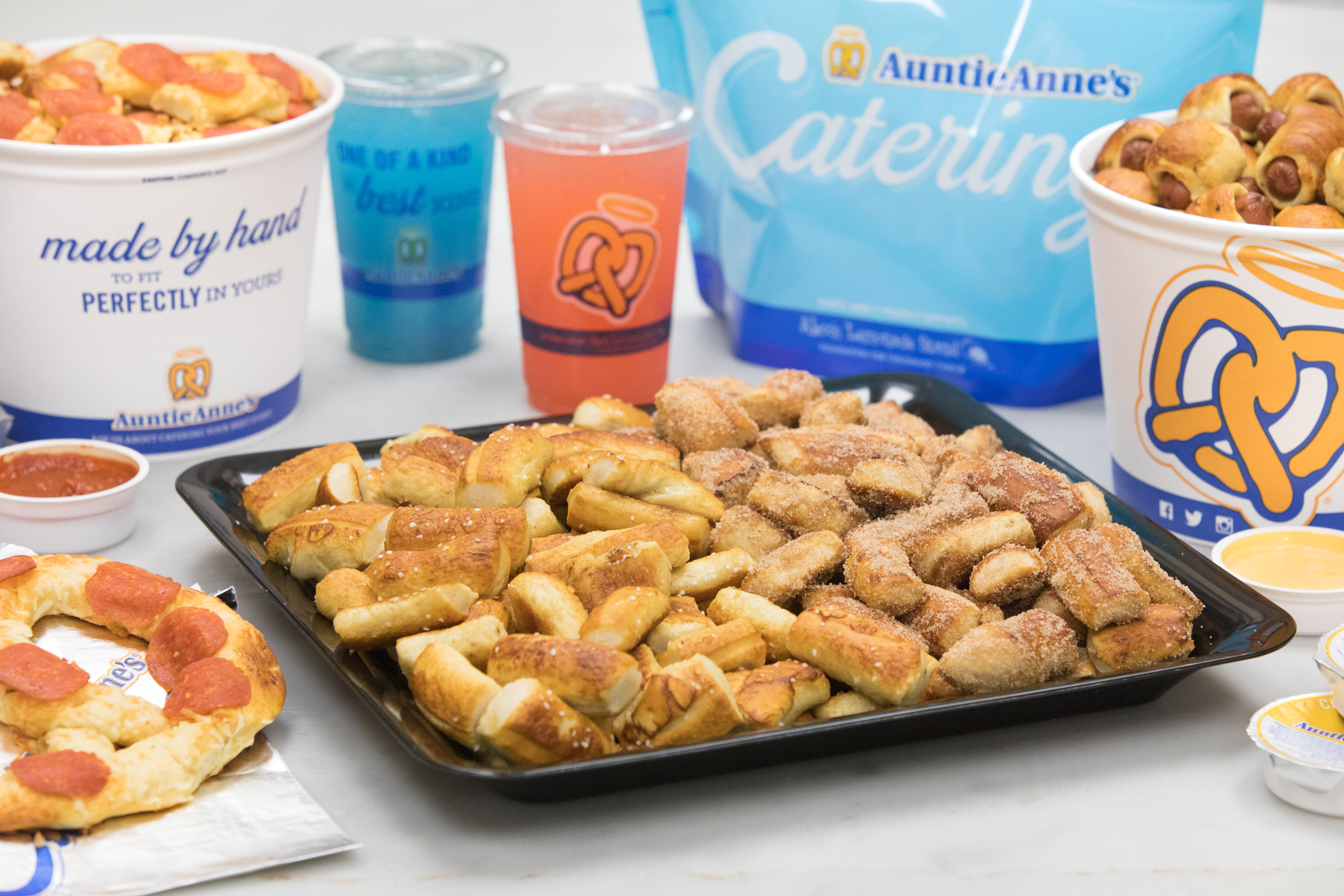 Check out Auntie Anne's catering menu, where you'll find snacks for vegetarians and meat eaters alike.