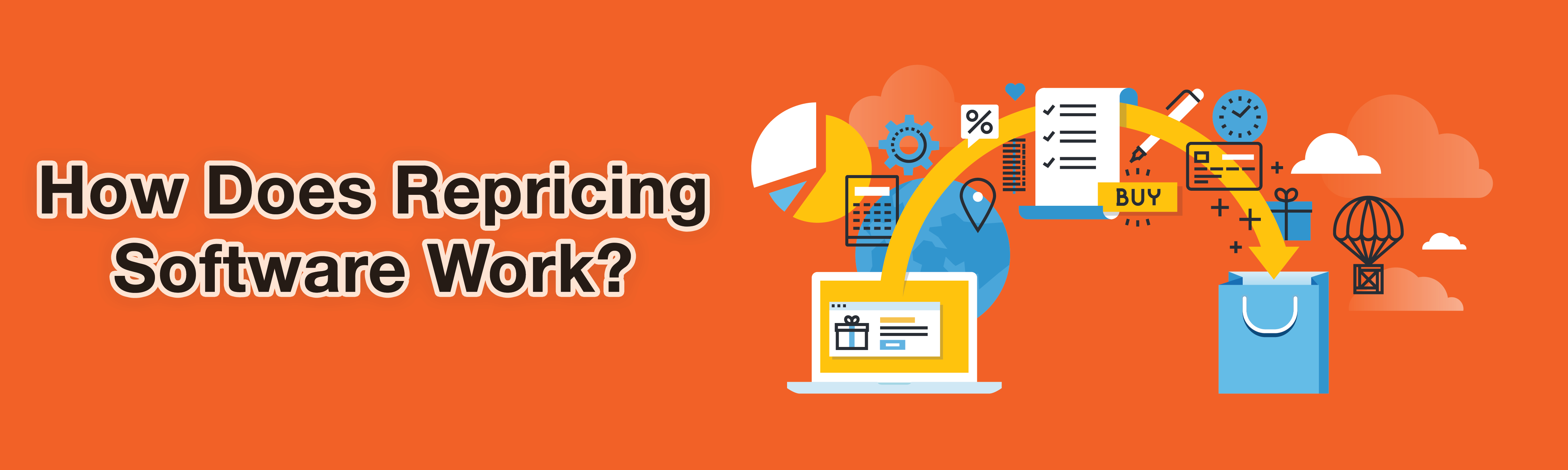 An orange graphic of how repricing software work