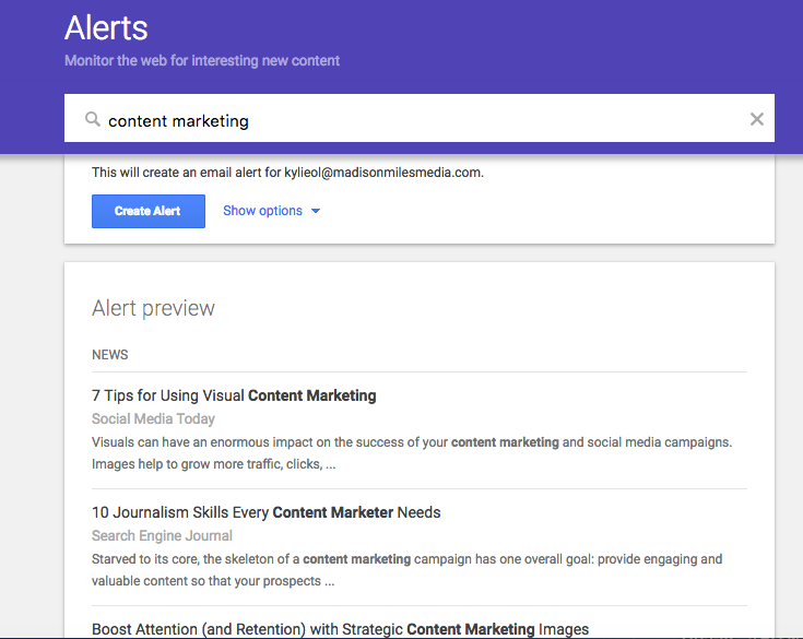 Screenshot of Google Alerts