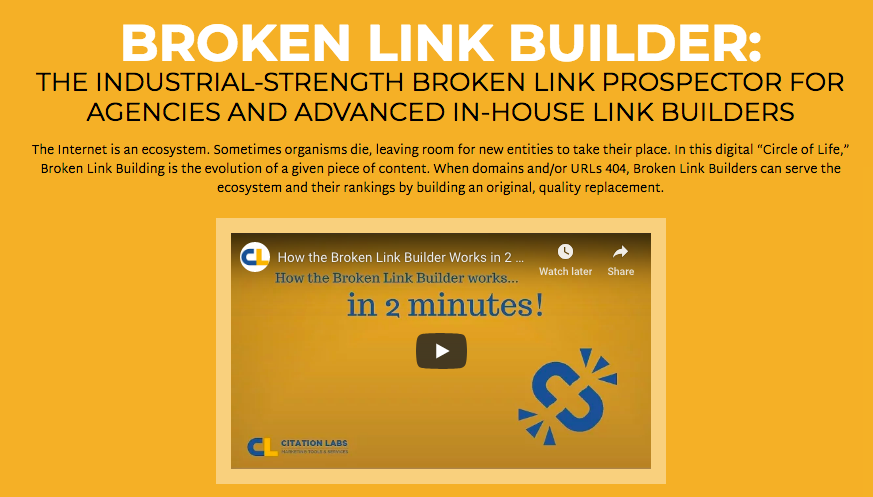 Screenshot of Broken Link Builder