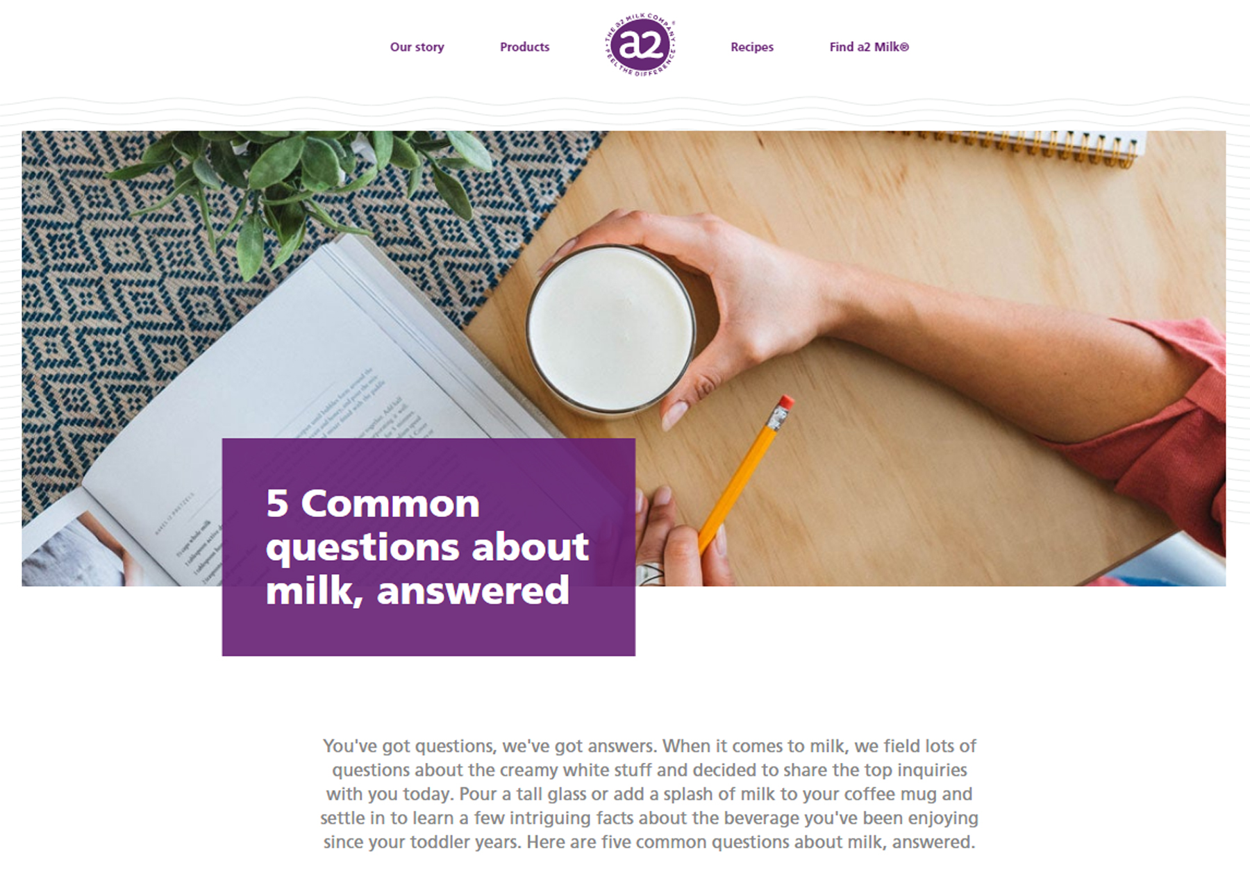 Standard form evergreen content example: 5 Common questions about milk, answered