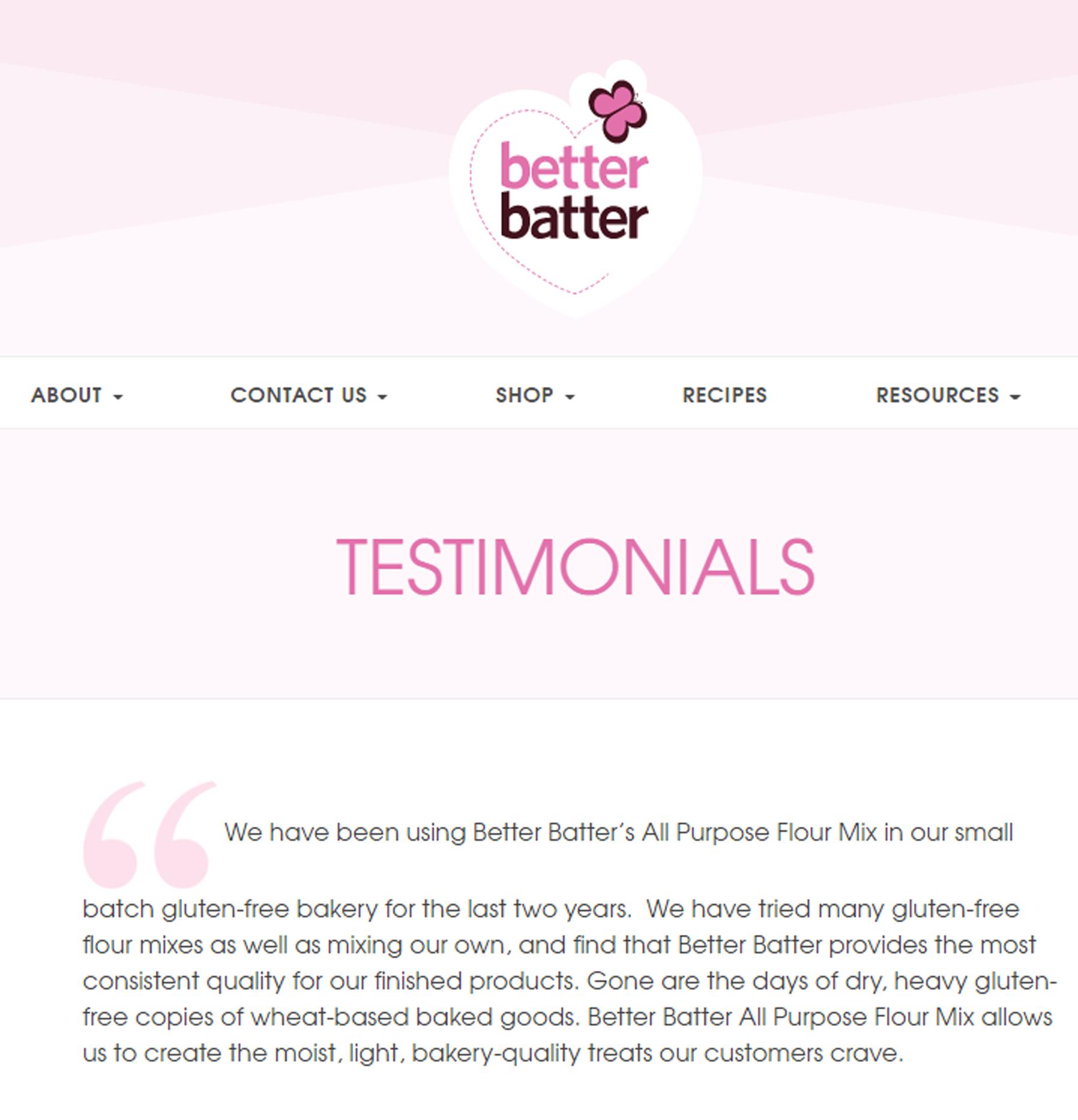 Testimonial evergreen content example: Better Batter