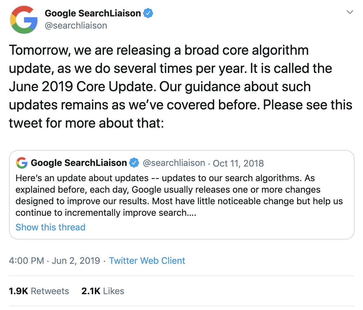 Google Sear Liaison's tweet on its 2019 Google core algorithm updates