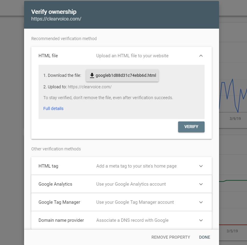 Capture d'écran de Google vérifiant la propriété du site