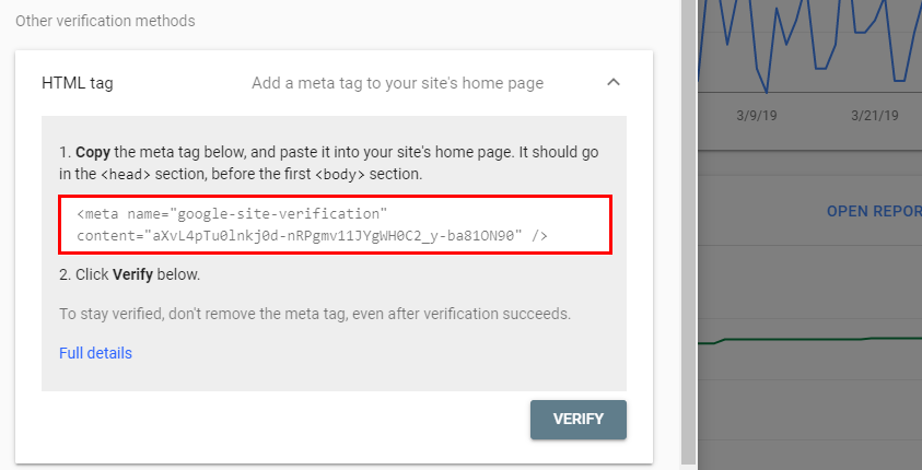 Screenshot of adding an HTML tag to help Google verify ownership