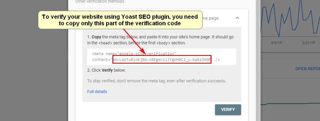 Screenshot of verifying a WordPress website using Yoast