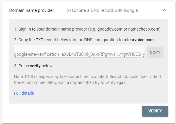 Screenshot of securing yourself as the domain name provider