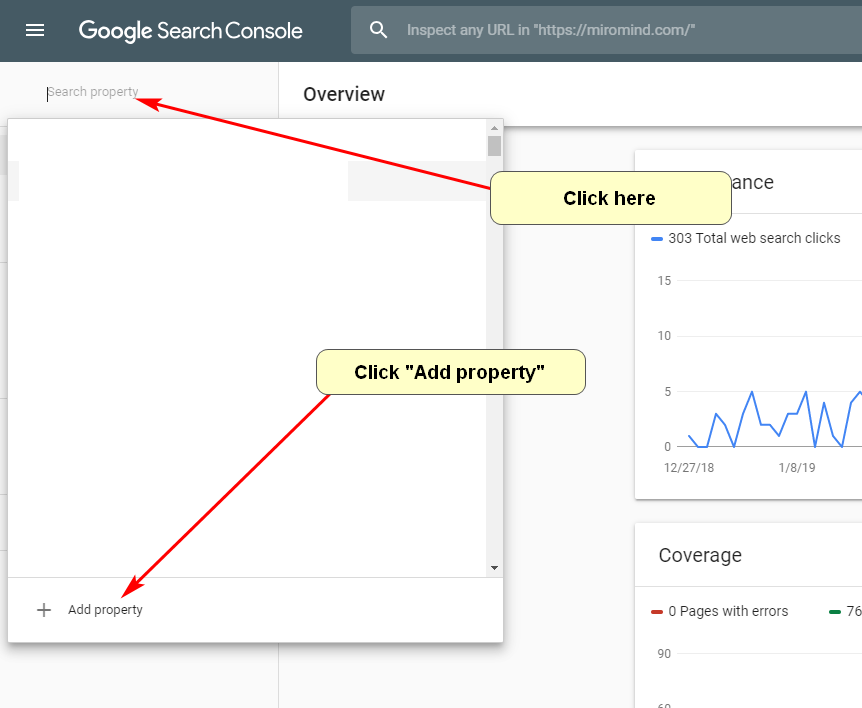 Screenshot of adding a property in Google Search Console