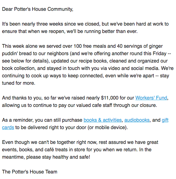Potter's Community emailer that sets an example for content marketing in the COVID-19 crisis