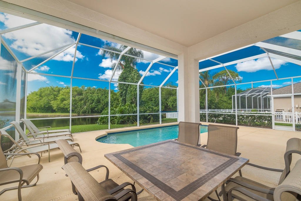 A wonderful view of a lanai in Bradenton, with pool