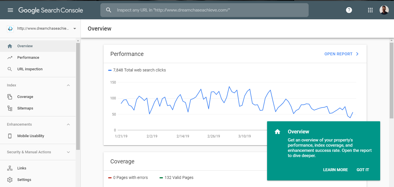Preview of the UI of the new Google Search Console