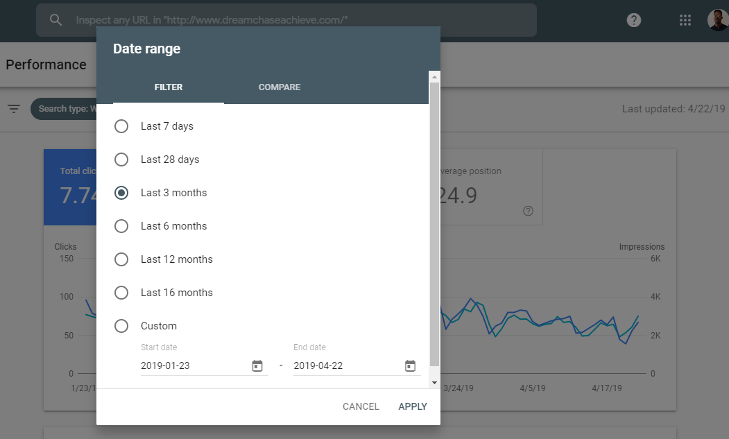 Preview of the time-frame of data available on the performance report screen of the new console