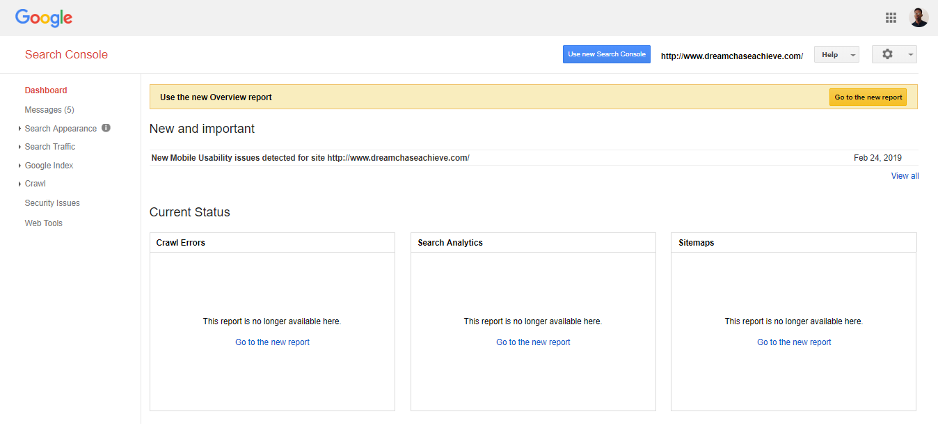 Preview of the UI of the old Google Search Console