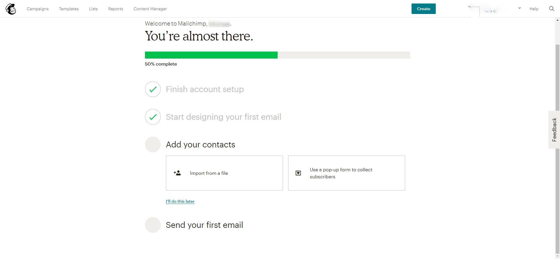 MailChimp contact import