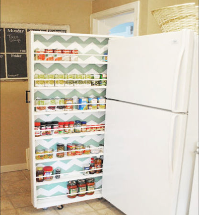 a fridge shelf showing an example of diy apartment hacks