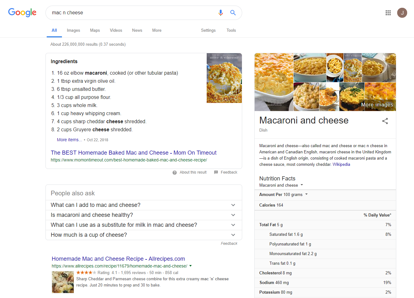 Example of rich snippets in Google SERP