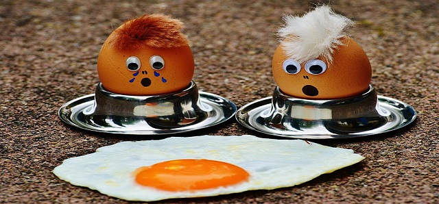 two squashed eggs