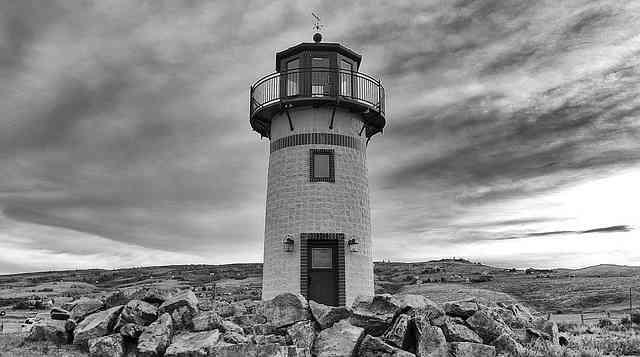 grayish lighthouse scene