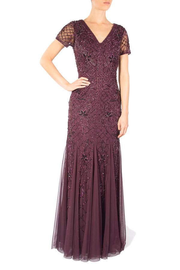 Alquila este vestido color vino tinto de Adrianna Papell - Click2dress
