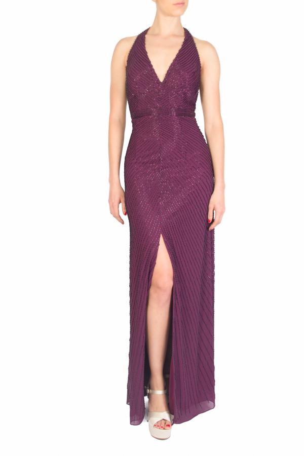 Alquila este vestido de fiesta largo vino tinto bordado con ...