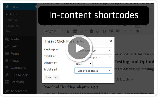 In-content Ad Placement Using Shortcodes