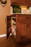 Live ends on custom cabinetry allow for easy access to items hiding in back of cabinet.