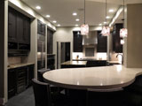 Espresso stained Transitional kitchen design.