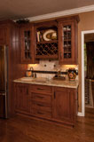 This wet bar is complete with wine racks, glass storage and decorative display.
