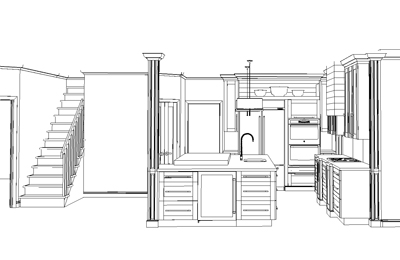 3D Kitchen plan in black and white