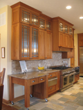 Classic Craftsman kitchen with rolling island.