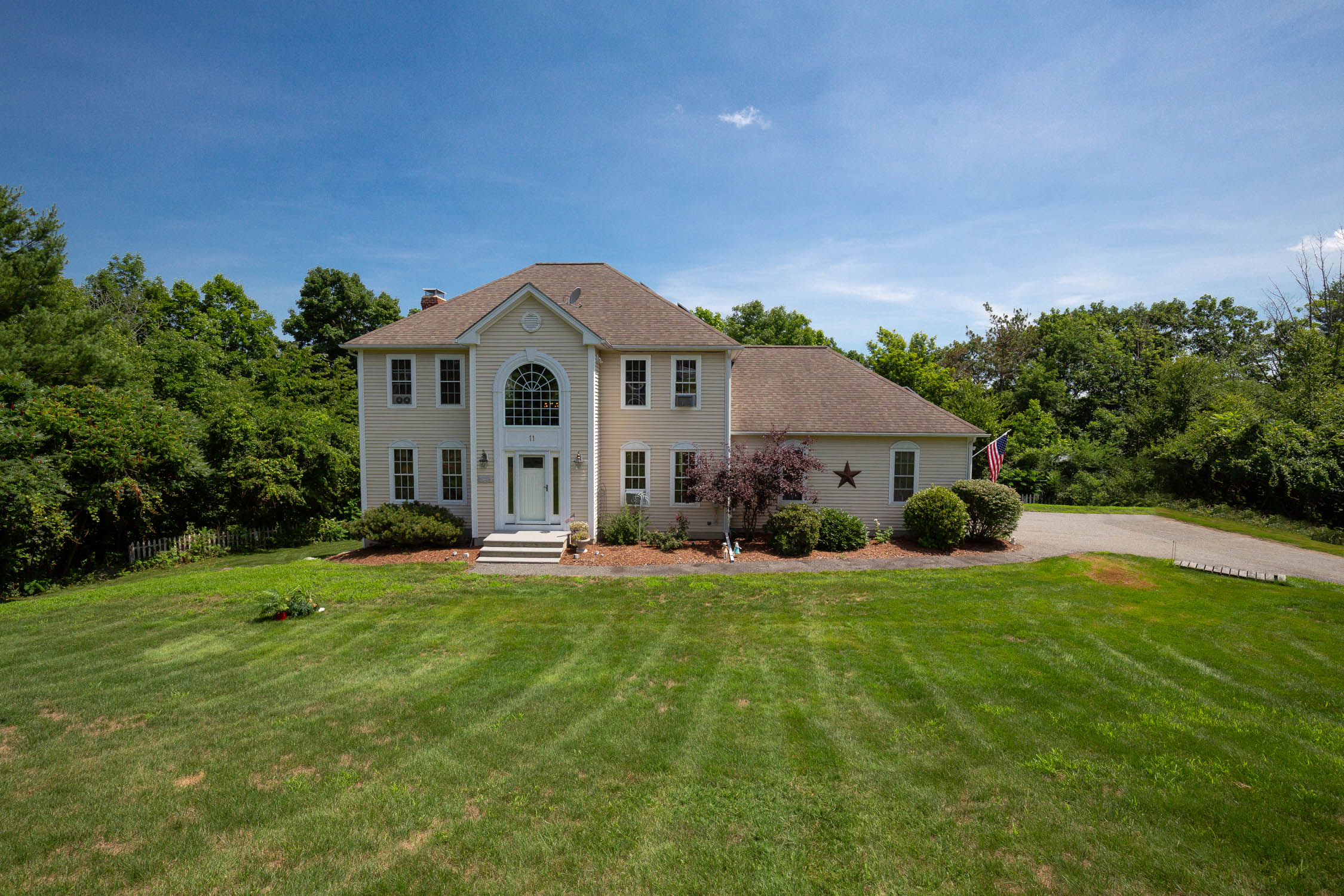 Do not delay in seeing this spacious colonial in a neighborhood setting in the quaint town of Rutland. This home features a grand foyer entrance that leads to the open layout of the first floor. The updated kitchen with keyhole island is fantastic for entertaining or just cozy up on the couch in fireplaced living room that spans front to back. First floor also offers ample closet space, a half bath and first floor laundry! Head upstairs where you will find a large master bedroom with an enormous walk in closet and a full bath. The second floor features 3 additional generous sized bedrooms and a full bath. The lower level is partially finished with room for guests, an office space or even a 5th bedroom. The unfinished basement area walks out to the private fenced in backyard. This home, like many others in the neighborhood, features cost saving solar electric. The small attention to details really makes this a home to remember.