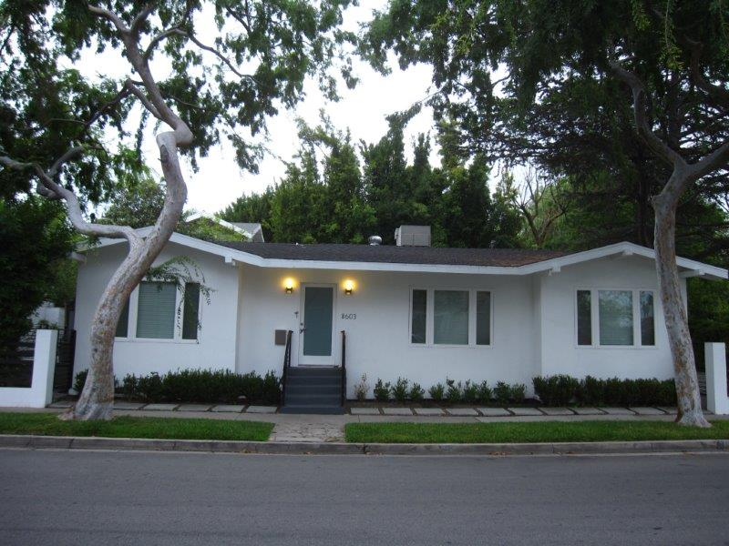 Prime West Hollywood Location. 1 story remodeled 3 bedroom + 2 bath home. Wonderful open floor plan: kitchen, breakfast area, dining room and living space all open out to patio areas to entertain. Gourmet kitchen with granite counter tops, stainless steel appliances. Master bedroom on one side of the living space for privacy and 2 additional bedrooms + 1 bath on opposite side of the home.Marble floors, Dark Hardwood floors, Central A/C and heat. This property is surrounded with lush landscaping and fenced for privacy. Separate Guest House: living/dining room combo, remodeled kitchen, bedroom and remodeled bath all with it's separate entrance and patio area.
