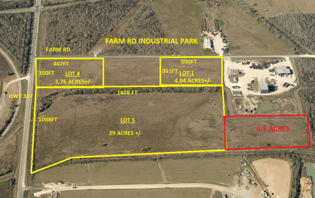 Lot 5 is a 29 acres Light Industrial tract. Located on the corner of HWY 397 and Farm Rd,  Less than 4 miles from I-10, between the new E. McNeese St extension and E. Prien lake rd. Lot 4 is part of a 45 acre tract available, other tracts available, will subdivide, or build to suit. See MLS Listing 129750, 129876, and 129851. Plat and Aerial attached.