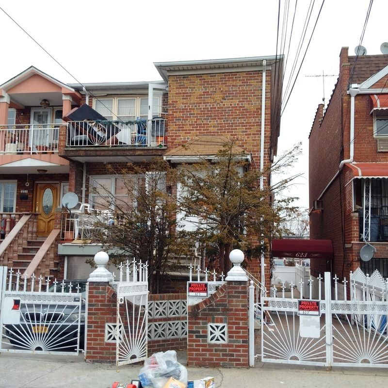OFFICE EXCLUSIVE: This massive semi-detached split-level two family brick, sets up as a three family residential features 3-bedroom, 1 1/2baths, living room, dining room, eat-in-kitchen, front balcony over another 3-bedroom, 1 1/2baths, living room, dining room, eat-in-kitchen, front balcony over a walk-in three bedroom apt w/a full bathroom over a finished basement with a separate entrance; private drive & Garage, on a very convenient block, short distance to the L train, BJ's, whole food terminal market and many more. Needs some TLC, excellent investment, Hurry, will not last. ID# 06234