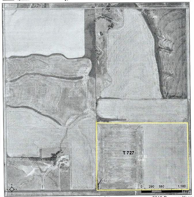 59.20 acres wheat stubble. 58.12 acres planted to wheat. The tenant is Brandon Hill and he has been notified his rights expire after wheat harvest and the wheat stubble possession rights are open. He would be willing to farm the land for a new buyer.