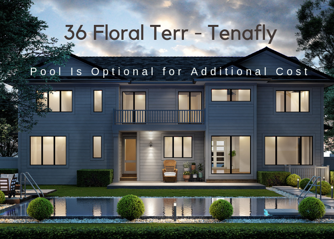 Tenafly gorgeous new construction featuring approx. COMPLETION 06/2019!6000 sf (with finished basement). Central hall colonial with 6 bedrooms and 6 bathrooms situated on a beautiful lot. High ceilings, high end finishes all around The first floor consists of 2 story entrance foyer open to formal living room & formal dining room leading to huge modern eat-in kitchen with top  appliances, pantry room, butler pantry, over-sized island open to spacious  great room overlooking private backyard, full bath and bedroom/office on the first floor.  A huge mudroom connected to a 2 car garage.  2nd floor features a master bedroom suite with his/hers walk-in closets, one bedroom suite,2 bedrooms and a j& j bath, a laundry room and linen closet.  The lower level has a bedroom,rec rm , gym, fb,media rm . POOL RENDERING IS FOR ILLUSTRATION ONLY! POOL IS OPTIONAL FOR ADDITIONAL COST!