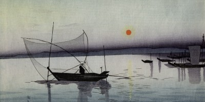 oloured print on paper of fishing boat in the water with mountainous background and more boats in the right background. Orange sun