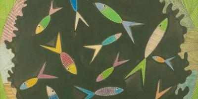 Scottie Wilson, Fish Bowl, 1960, ink and crayon