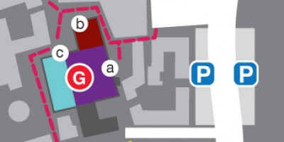 Map of Lancaster University campus showing Live at LICA, Sports Centre and the Ruskin Library. Includes parking locations.